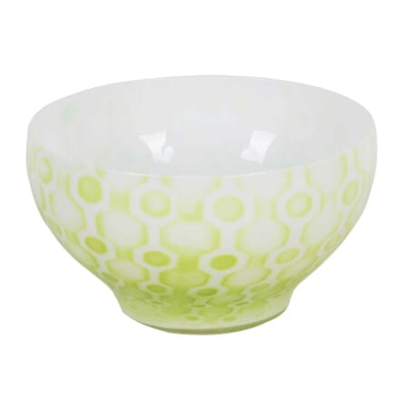 Kosta Boda Glass Bowl with Apple Green Enamelling DA3012498