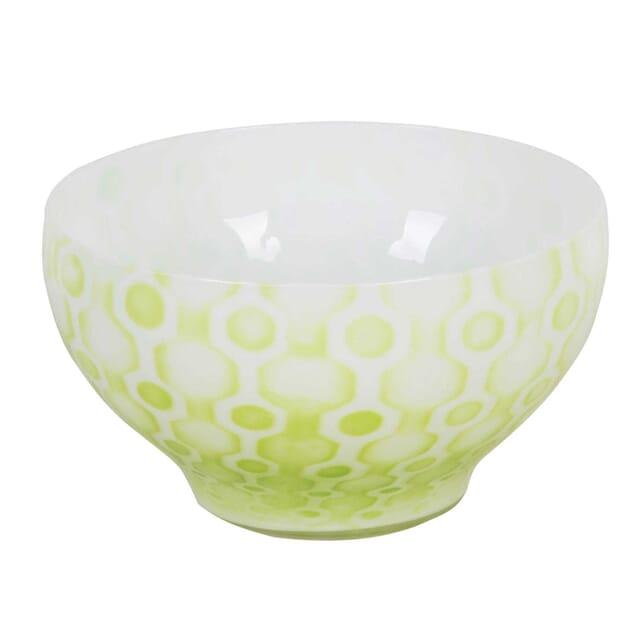 Kosta Boda Glass Bowl with Apple Green Enamelling DA3012498