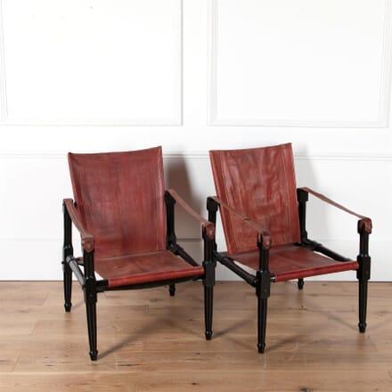 Pair Of Ebonised Safari Chairs CH2760428