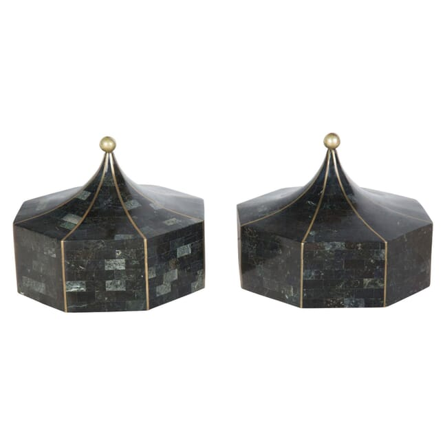 Pair of Tessellated Stone and Brass Boxes DA3057029