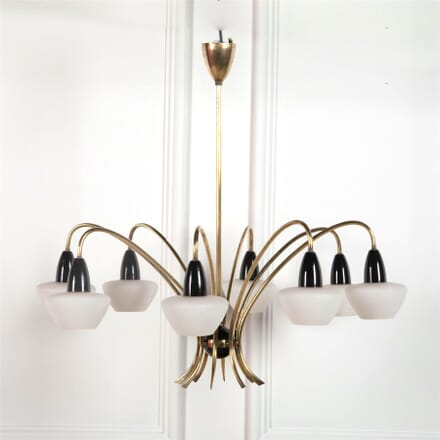 Brass and Lacquered Metal Chandelier LC3062003