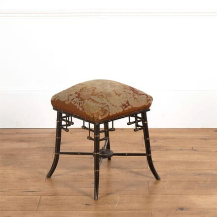Rare French Mid 19th Century Aesthetic Movement Faux Bamboo & Tapestry Stool ST597080