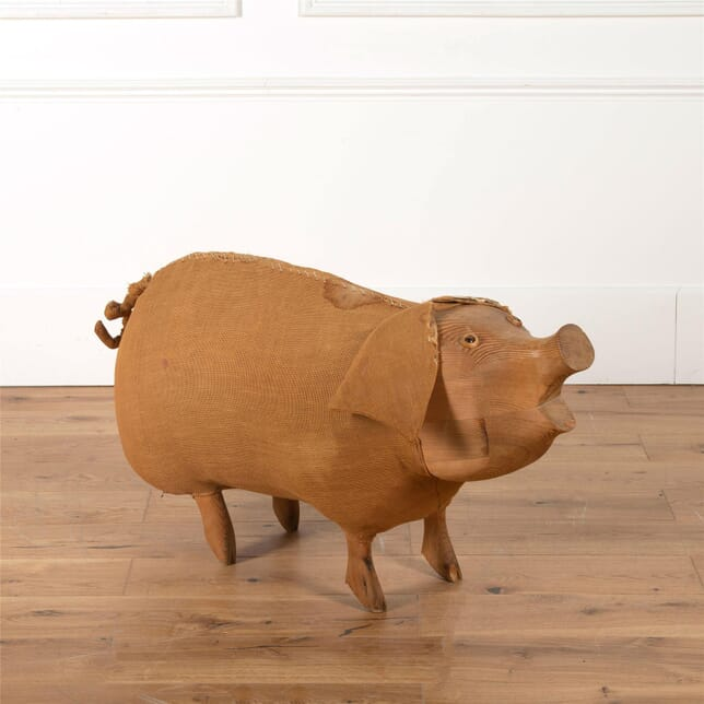 Folk Art carved pine Pig DA2762433