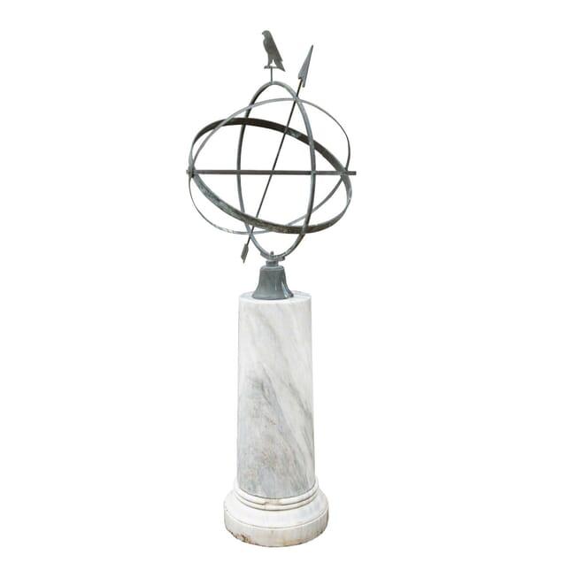 A Modern Armillary Sphere on 19th Century Circular Marble Pedestal GA3358949