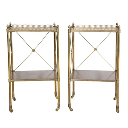 Pair of Brass, Satinwood and Mahogany Side Tables TS354728