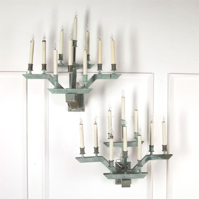 Pair of Large Verdigris Bronze Wall Sconces LW5361788