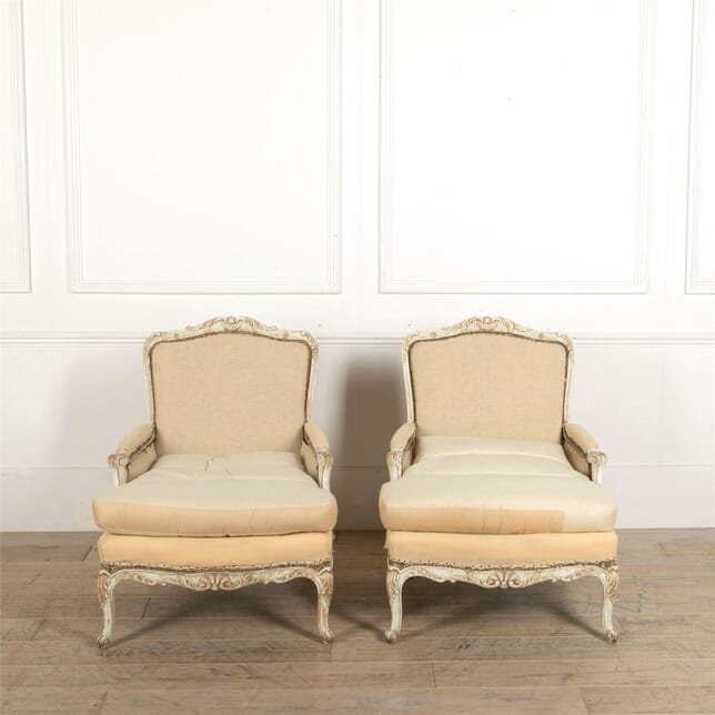 Pair of Swedish 19th Century Bergeres with Carving and Original Down Cushions CH447679