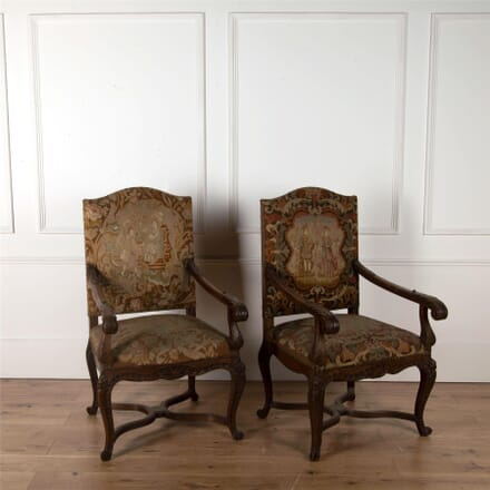 Pair of 19th Century French Oak Armchairs CH3562450