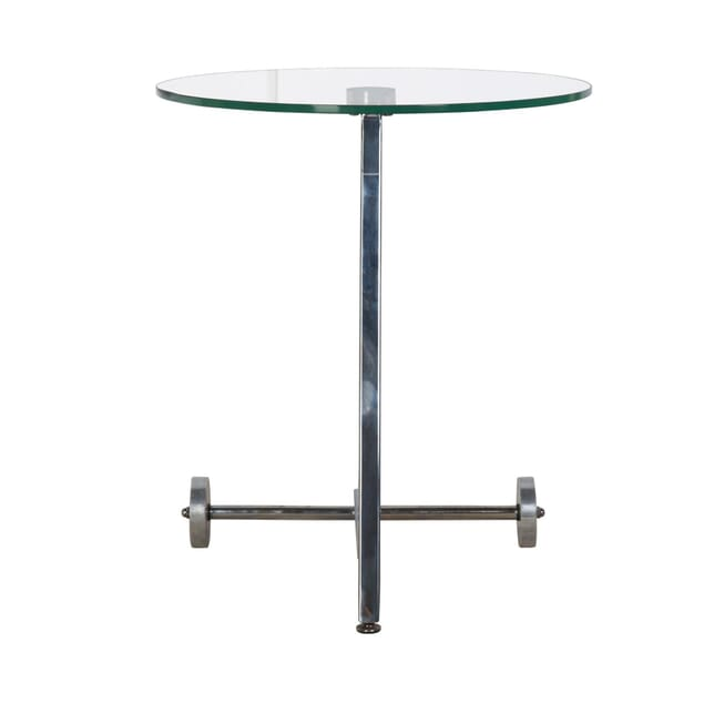 1960s Round Glass and Chrome Wheeled Side Table TS4055064