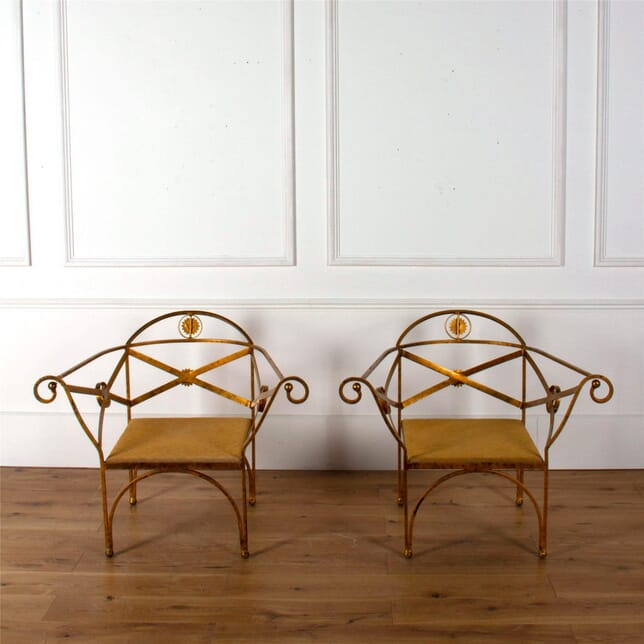 Pair of Italian Strap Iron Chairs. GA6262210