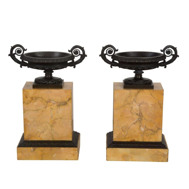 Pair of Bronze Urns on Marble Plinths DA1359789