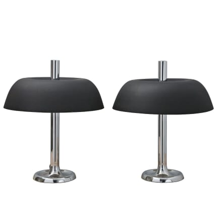 Pair of Black Metal and Chrome Lamps LT1255204
