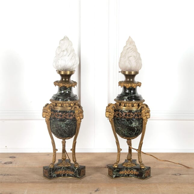 Pair of 19th Century Marble and Ormolu Bronze Lamps LT5262309