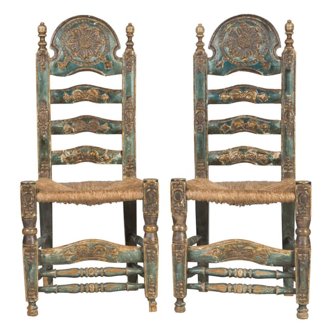 PAIR of SPANISH GREEN CHAIRS CH2812568