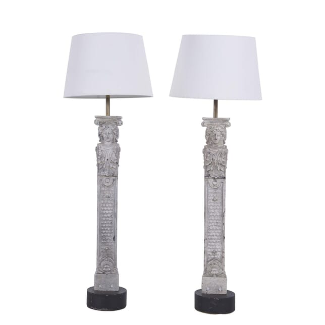 Pair of Cast Iron Columns Converted to Table Lamps LT3660172