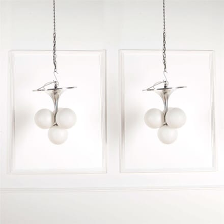 Pair of 1970's Polished Aluminum and Opaque Glass Balls Ceiling Pendants LC5361787