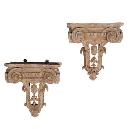 Pair of Late 19th Century Carved Wooden Brackets BK2360371