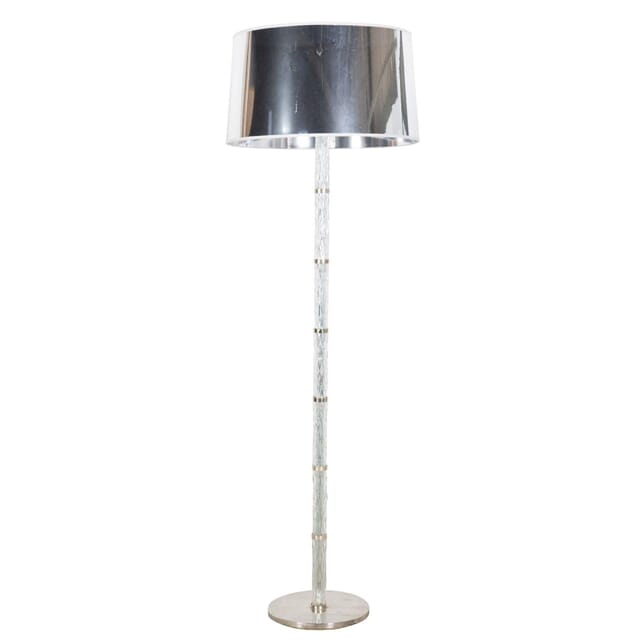 1960's Italian standard lamp in glass and metal with modern reflective shade LF289184