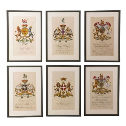 Rare Set of 6 Engravings of Coats of Arms by Joseph Edmondson WD6158234