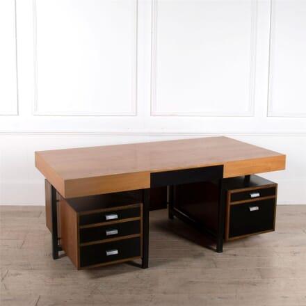 An Oak, Teak and Black Laminate Desk DB1662246
