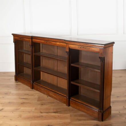 19th Century Walnut Dwarf Breakfront Bookcase BK2361221