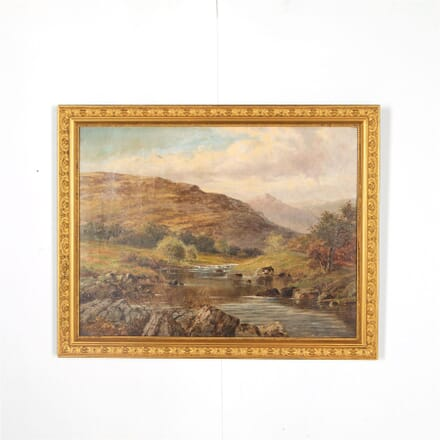 Scotting Mountain & river scene Oil on Canvas WD287572