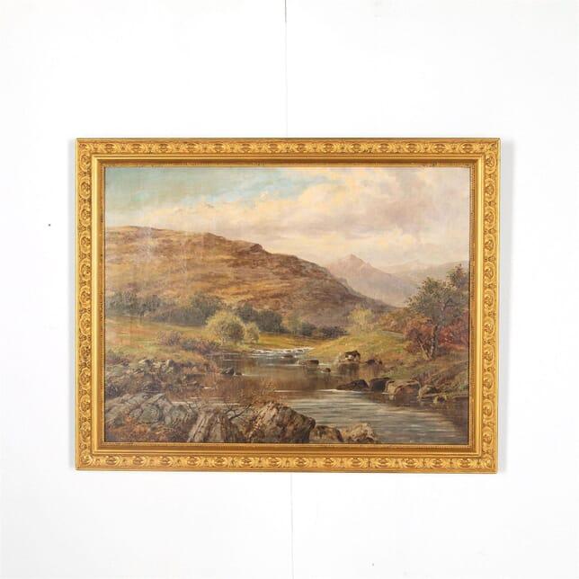 Scotting Mountain & river scene Oil on Canvas WD287572
