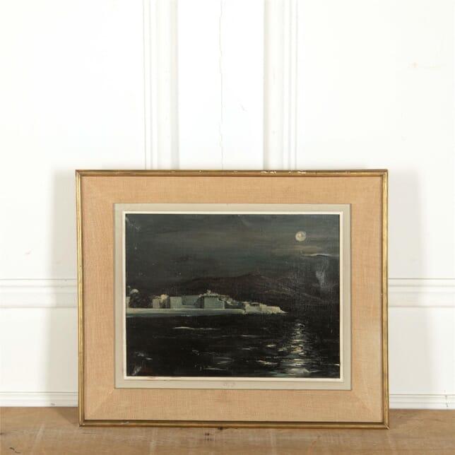 Moonlit Oil on Canvas Seascape WD307662