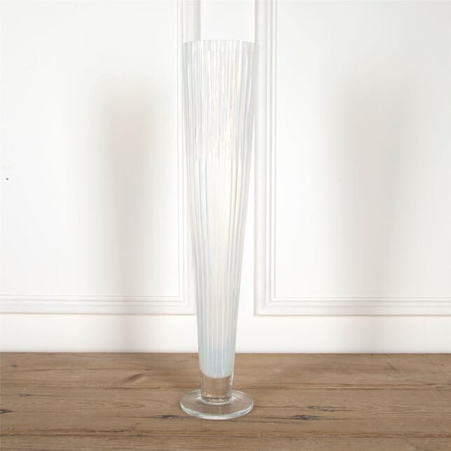 Giant Art Deco Opalescent Ribbed Glass Vase DA5862042