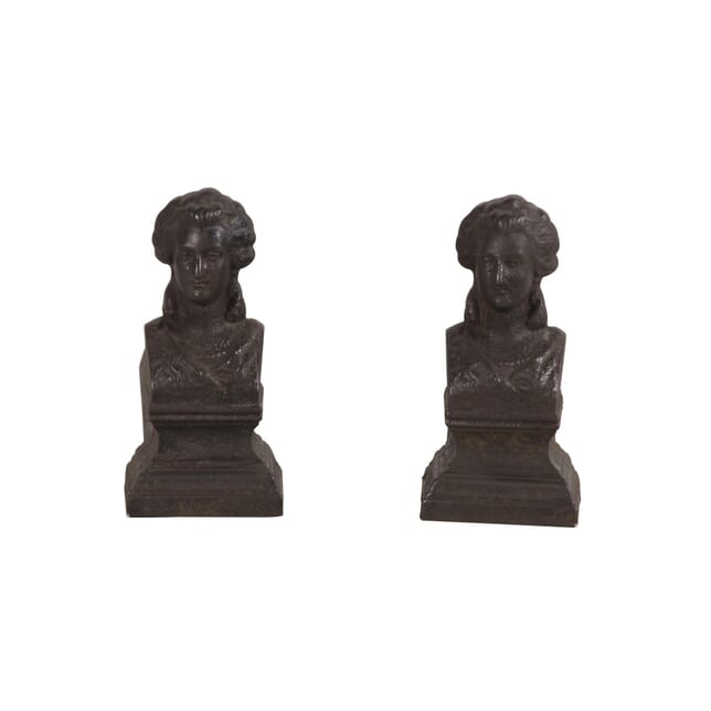 A Pair Of French 19th Century Firedogs Or Andirons As Decorative Female Heads DA5960244