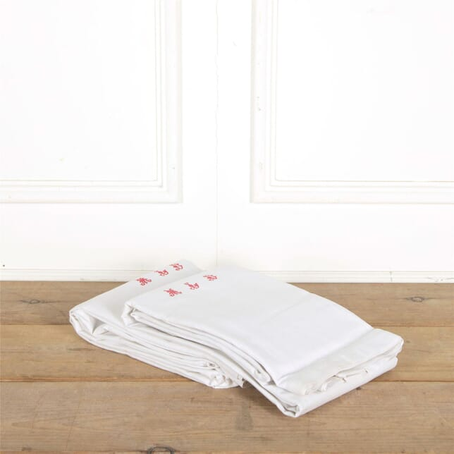 Pair of French Linen Sheets With Initials DA447682