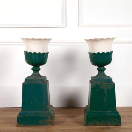 19th Century English Iron Tulip Shaped Planters GA2861452