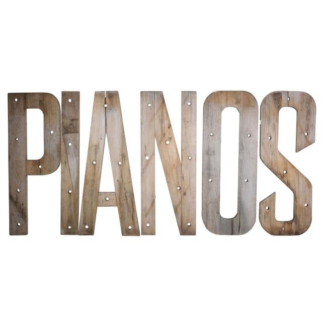 Bleached Oak Weather Letters Spelling PIANO DA0410265