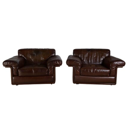 Pair of 1970s Leather Armchairs CH4354552