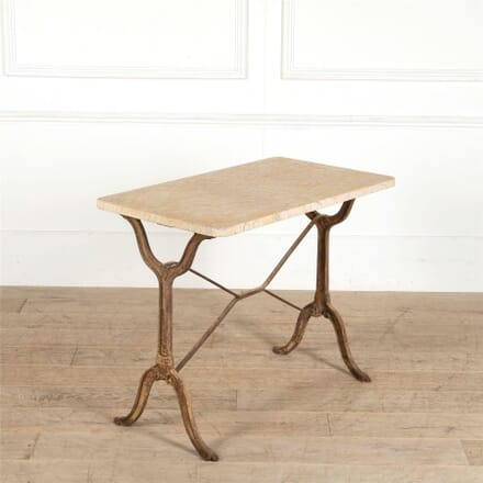 French Iron Bistro Table with Outstanding Yellow Marble Top TC287361