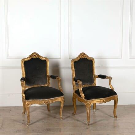 Pair of Swedish 19th Century Gilt Wood Open Armchairs CH417214
