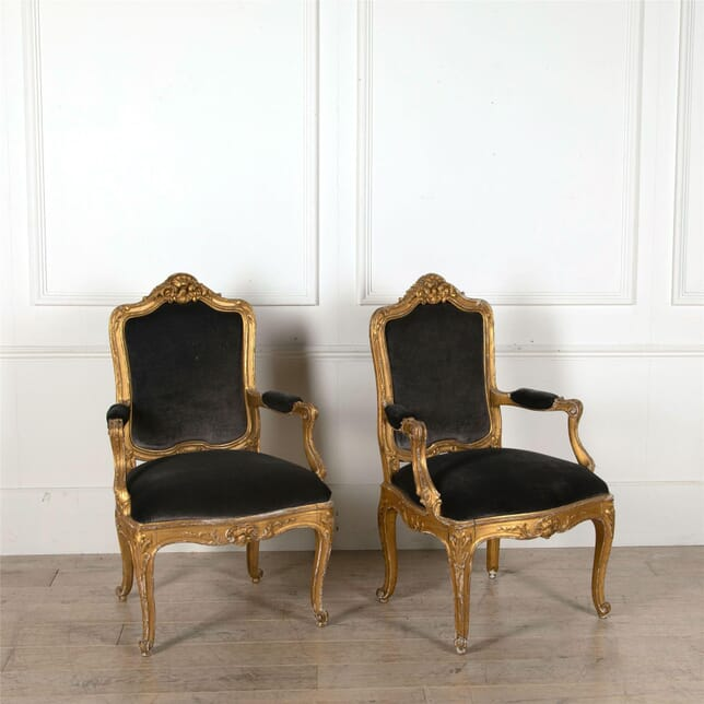 Pair of Swedish 19th Century Gilt Wood Open Armchairs CH417214