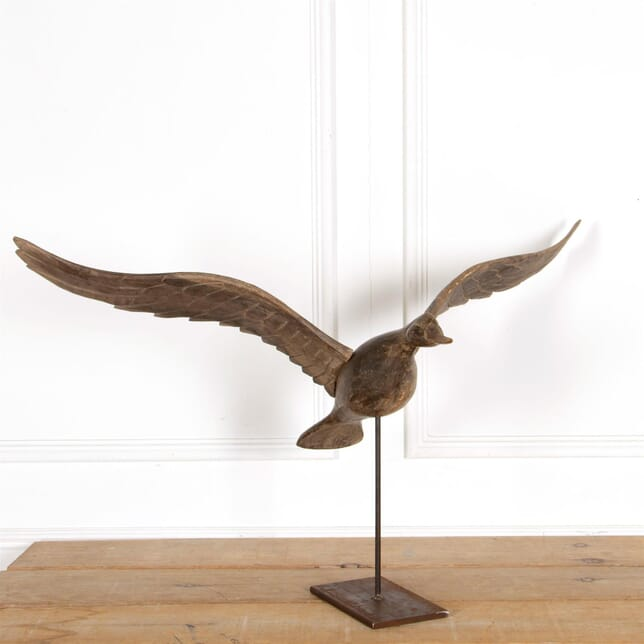 American Wooden Sculpted Duck On Metal Stand DA287305