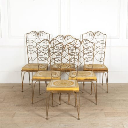 Six 1940s Wrought Iron Dining Chairs by Rene Prou CD907673