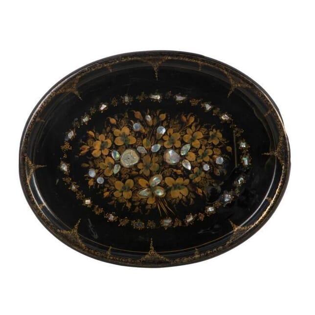 19TH CENTURY GILT & INLAID PAPIER MACHE TEA TRAY DA9912612