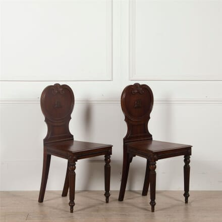 Pair of Mid 19th century Mahogany Hall Chairs CH2562582