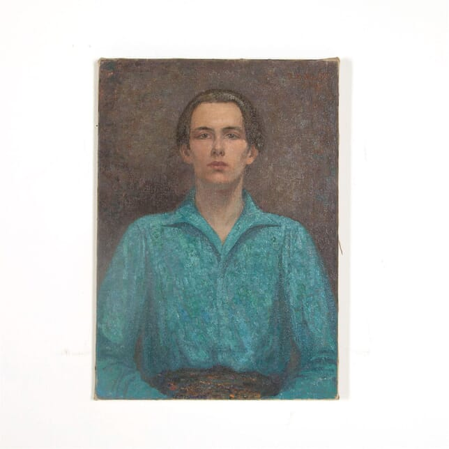 Oil on canvas, portrait painting of a young man titled 'The Blue Shirt' by London born artist Rudolf Helmut Sauter (1895-1977) WD0962593