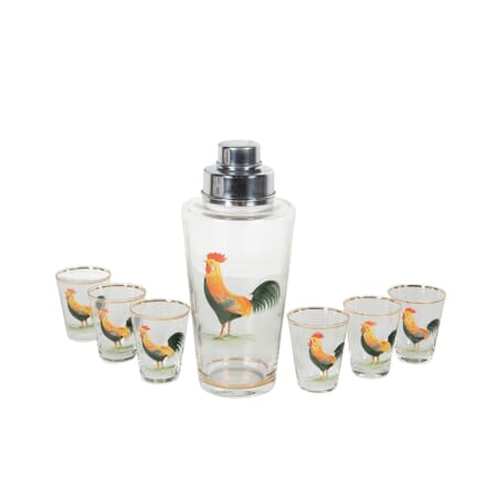 French Glass Cocktail Shaker Set With Hand Painted Cockerel DA5860929