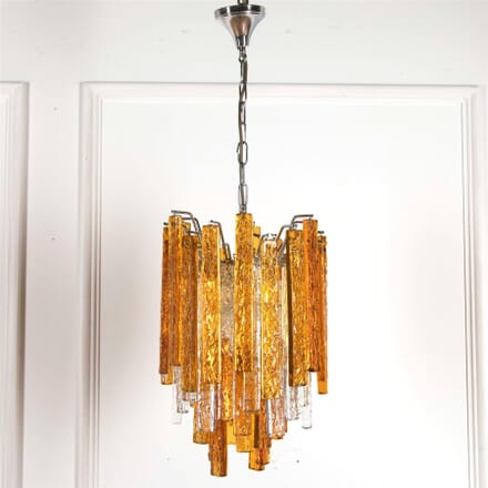 1960's Venini Amber and Clear Glass Chandelier LC5361785