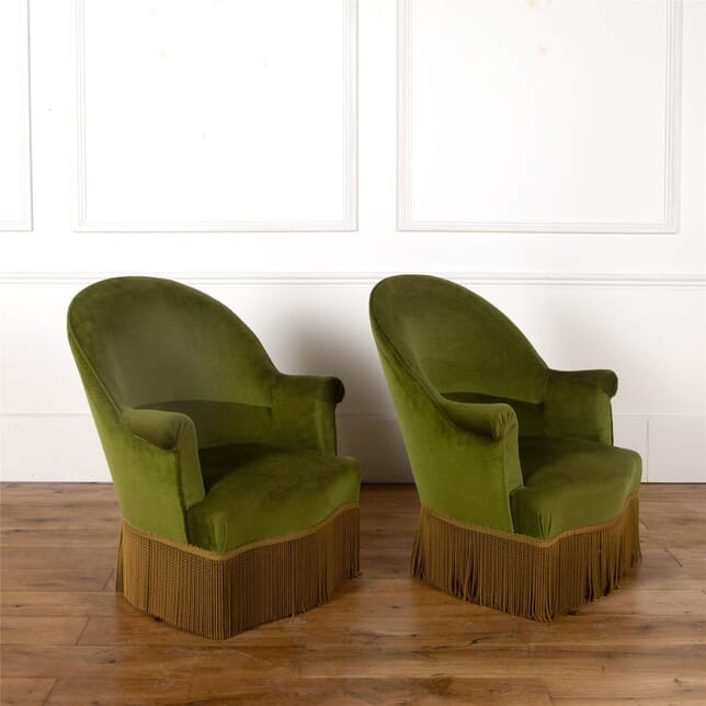 Superb Pair of Napolean III Fringed Tub Chairs ST6362509