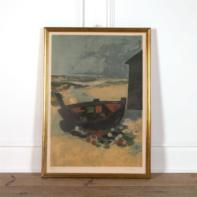 Large Signed Print of a Boat on a Beach WD2962138