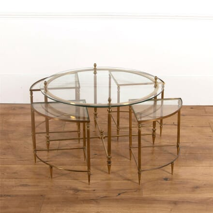 Maison Bagues Round Brass & Glass Coffee Table with Four Side Tables CT737085
