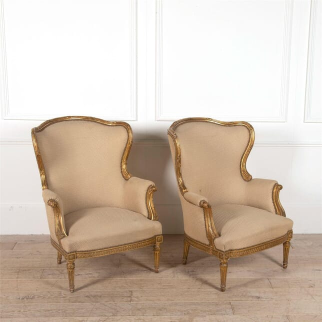 Pair of gilt wood armchairs CH5262313