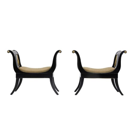 Pair of Ebonised and Gilded Stools ST0660340