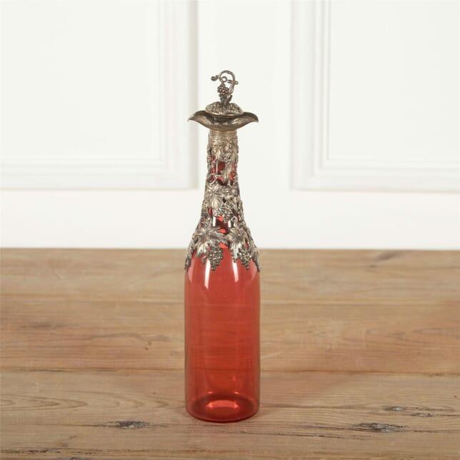 Cranberry Glass Vine Leaf Decanter DA587350